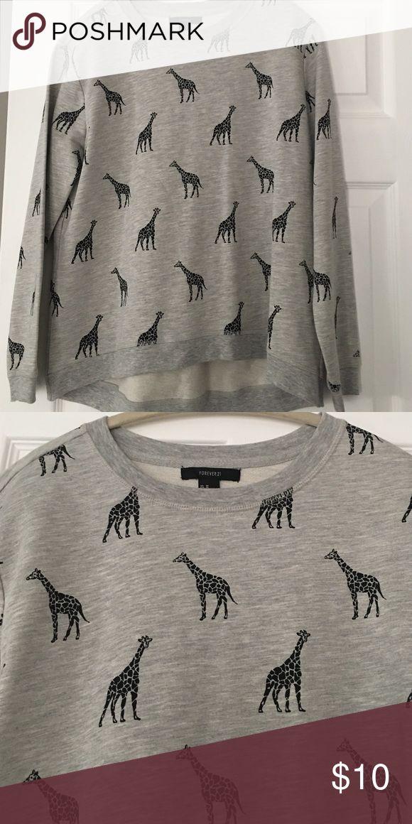 Giraffe sweatshirt Heather grey with black giraffes. Light sweatshirt material. Brand new Forever 21 Tops Sweatshirts & Hoodies