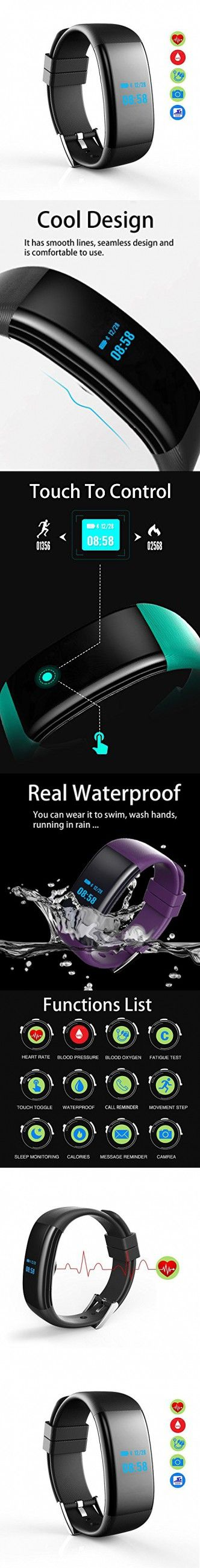 ESOOR IP68 Waterproof Smart Wristband Pedometer Smart Bracelet Blood Pressure Heart Rate Oxygen Monitor Fitness Tracker Band for iPhone and Android