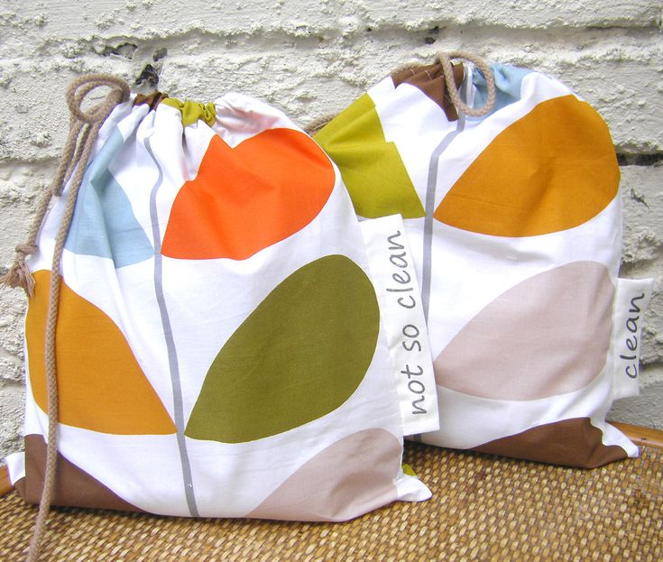 Travel Laundry Bag Set Two lingerie bags 100% cotton using Orla Kiely Travel Kit Wash Bags Drawstring Bag