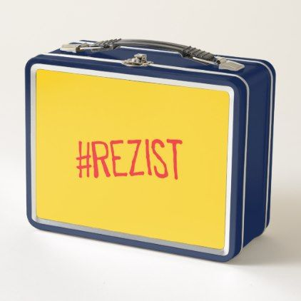 rezist romania political slogan resist protest sym metal lunch box - cyo diy customize unique design gift idea