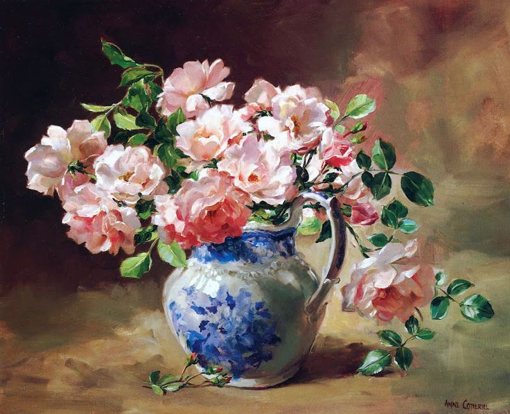 Pink Roses in Blue and White China