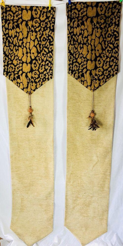 """Cheetah Print Tan Curtain Panels Feather Tassel 72"""" L x 14"""" W Window Treatments    eBay 3.6.18"""