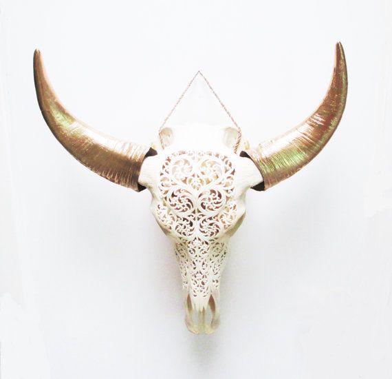 Crâne de vache, crâne de bison, véritable crâne crâne Buffalo, Decor Tribal, sculpté Cow Skull, crâne, crâne Animal, crânes, peint Cow Skull, crânes