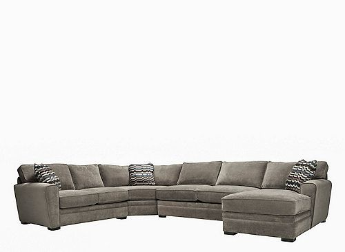 "This Artemis II 4-piece microfiber sectional sofa with full sleeper is a breeze to decorate with. Its stone color is what designers are calling the ""new neutral."" It works with just about anything—even the multicolored accent pillows! Plus, this sectional sofa's memory foam sleeper is so comfy to curl up on."