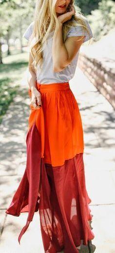 #street #style summer red maxi Wachabuy.com
