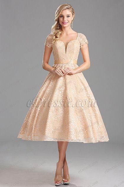 Short Sleeves IllusionV Neck Tea Length Beige Party Dress (X04145214)