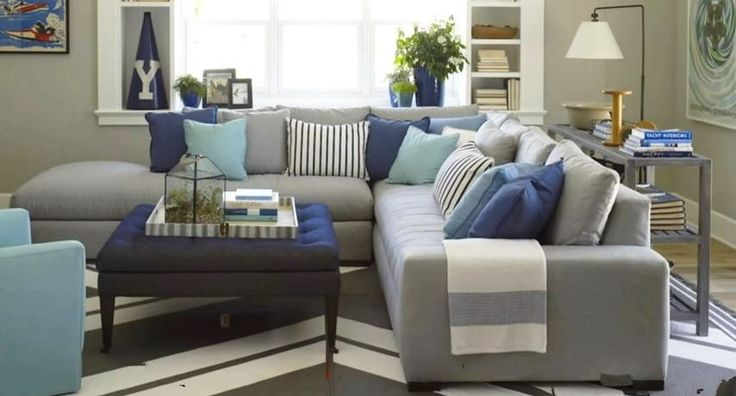 Gray Sofa with Turquoise Cushions