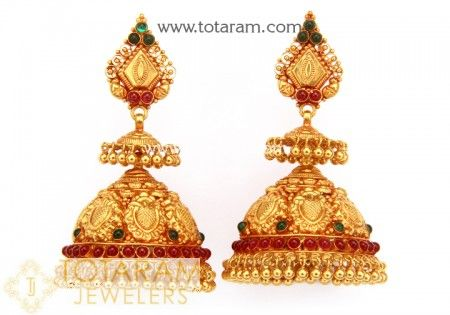 Temple Jewellery Earbuttalurings - Buy Online 22K Gold screw back Temple jewellery Earrings, South Indian Temple jewellery Earrings like Temple jewellery gold jhumkas, Indian Gold long earrings made in South India. South Indian long Earrings with south indian style screw backs (Madras Screw) made in India. View latest designs of Temple jewellery earrings and bharatanatyam jewellery