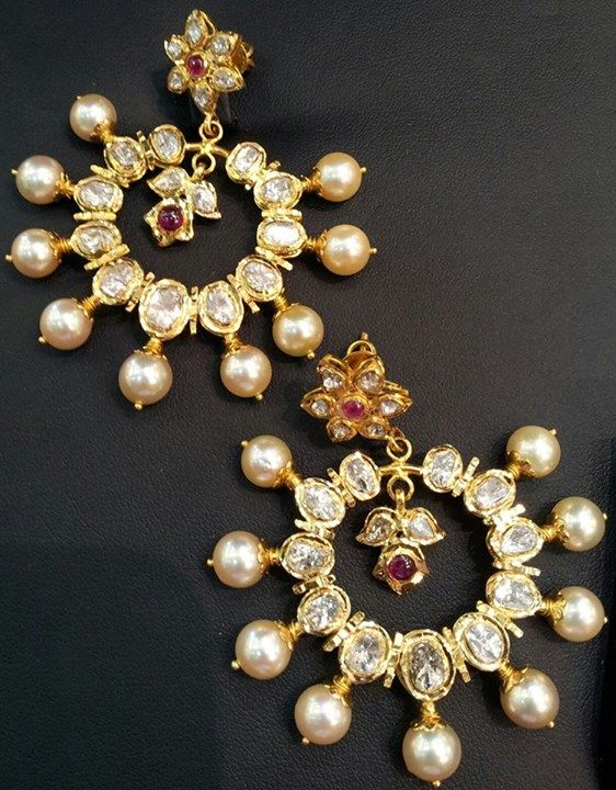 Kundan and pearl statement earrings. Bridal fashion.
