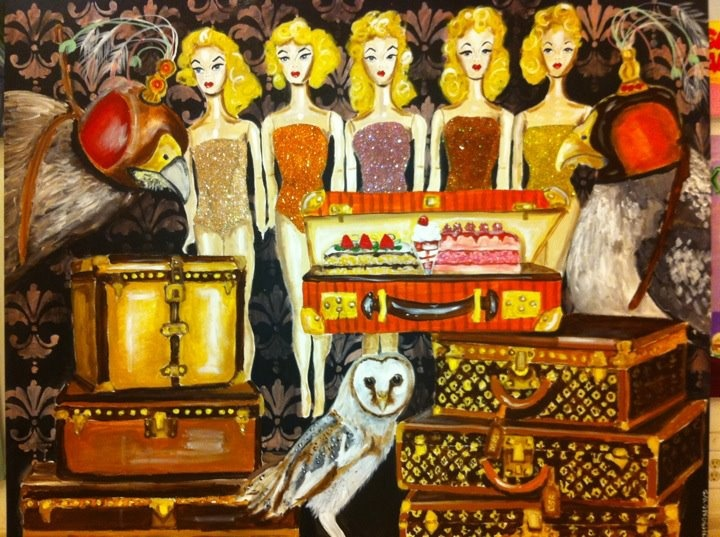 """Louis Vuitton & Barbie """"Checked Emotional Bagage"""" 48""""x72"""" Acrylic on Canvas with Glitter and Resin"""