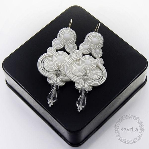 Lerite white soutache - kolczyki ślubne sutasz KAVRILA #sutasz #kolczyki #ślubne #białe #rękodzieło #soutache #handmade #earrings #wedding #white #kavrila
