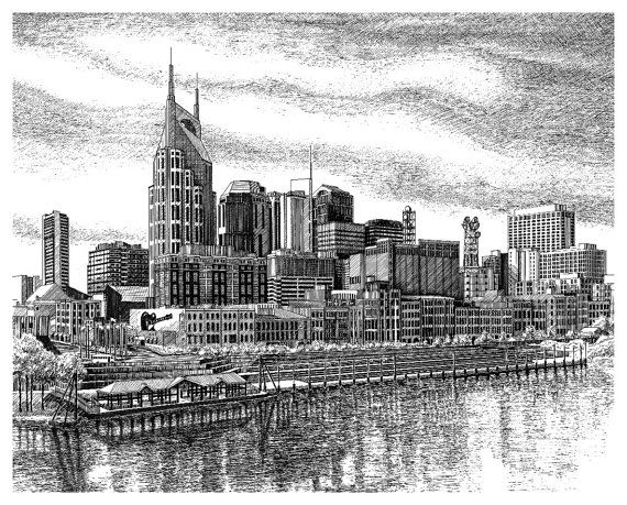 Print of Nashville Skyline in Nashville TN by JanetKingFineArt