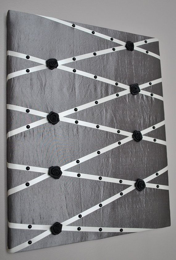Unique! Grey taffeta French memo board by MemoBoardsNMore on Etsy, $39.95