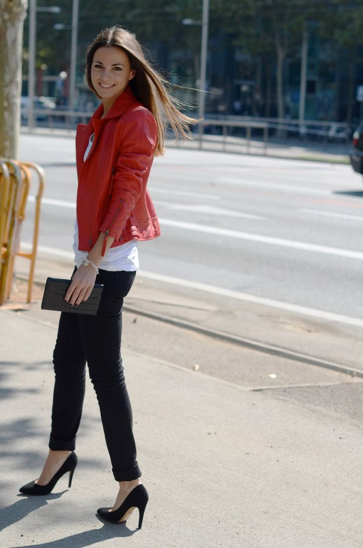 102 best Red Leather Jacket images on Pinterest