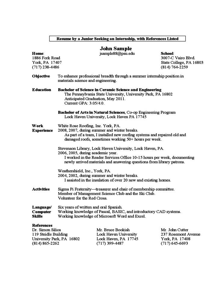 Sample Resume A First Year Student Free Download Resume First Year Student Sample Resume