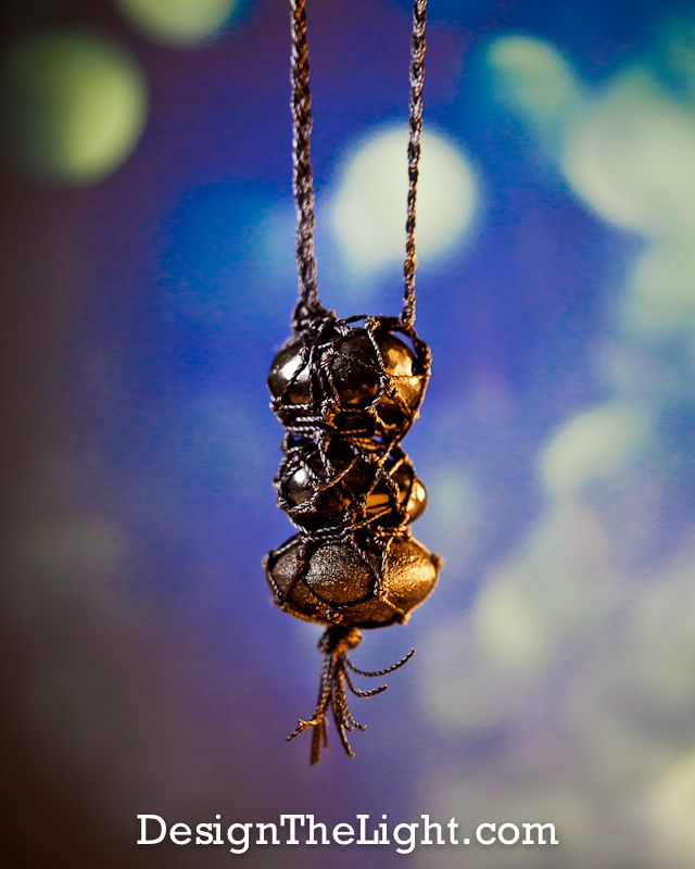 "Ethereal Communication Amulet With Three Black Crystals: Nuumite, Obsidian & Moqui Marble With Faerie-Lacing (2.5"" x 1"")"