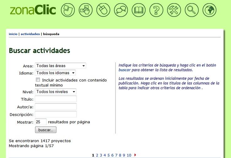 JClic buscar actividades.  La opción applet le permite utilizar la actividad sin descargarla.
