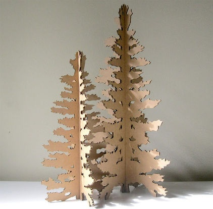 Eco Laser Cut Cardboard Christmas Tree by Seequin - $18.00 »  Even in miniature, these laser-cut cardboard trees are as stately and serene as the real thing.