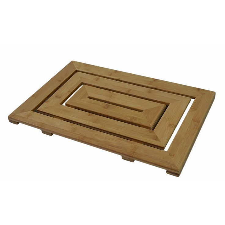 Attractively handcrafted of eco-friendly bamboo, this sleek contemporary bath mat is a must-have for any bathroom. With a stylish geometric design, this mat will make your bathroom look and feel like a spa.
