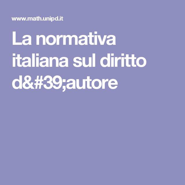 La normativa italiana sul diritto d'autore