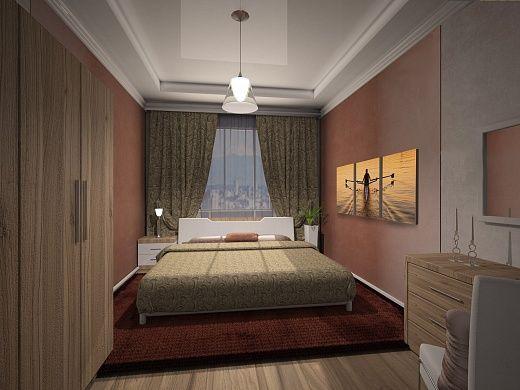 В спальне создана аура заката. Ее передает и цвет стен, и цвет ковра, текстиля, а также панно под характерным названием «Променад на закате».