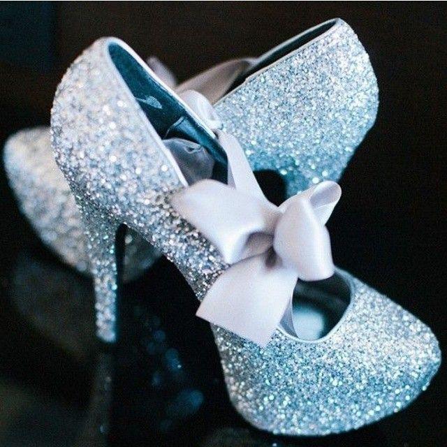 Wowza!! Simmering glimmering wedding shoes. #weddingchicks #sparkle #glitterheels #weddingshoes