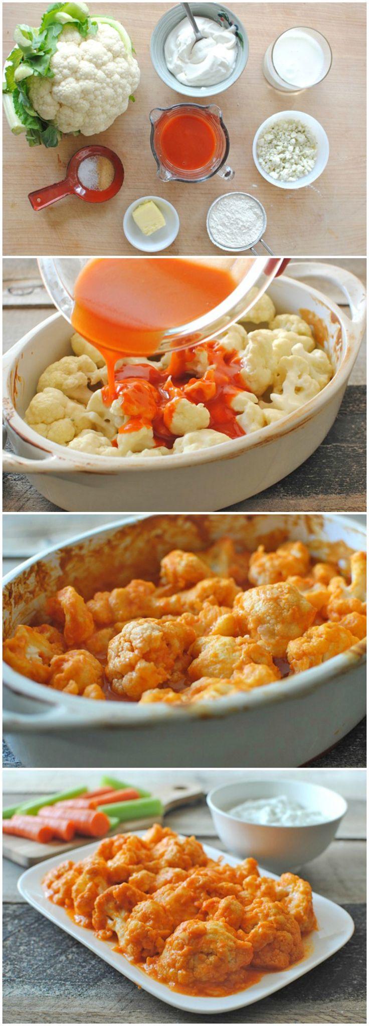 Buffalo Cauliflower w/ Yogurt Dipping Sauce omit flour