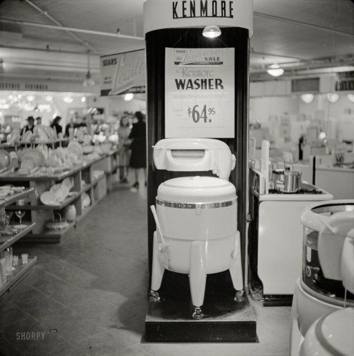 $64 washer for sale at Sears Roebuck store, Syracuse, New York. October 1941 http://www.shorpy.com/node/20735 John Collier