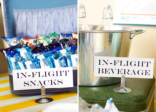 """Airplane Themed Party - love the suitcase holding the """"inflight"""" treats - such a great idea."""
