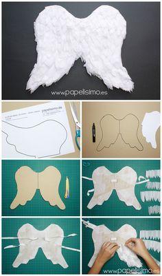 Alas de ángel de papel para niño | http://papelisimo.es/alas-de-angel-de-papel-para-nino/