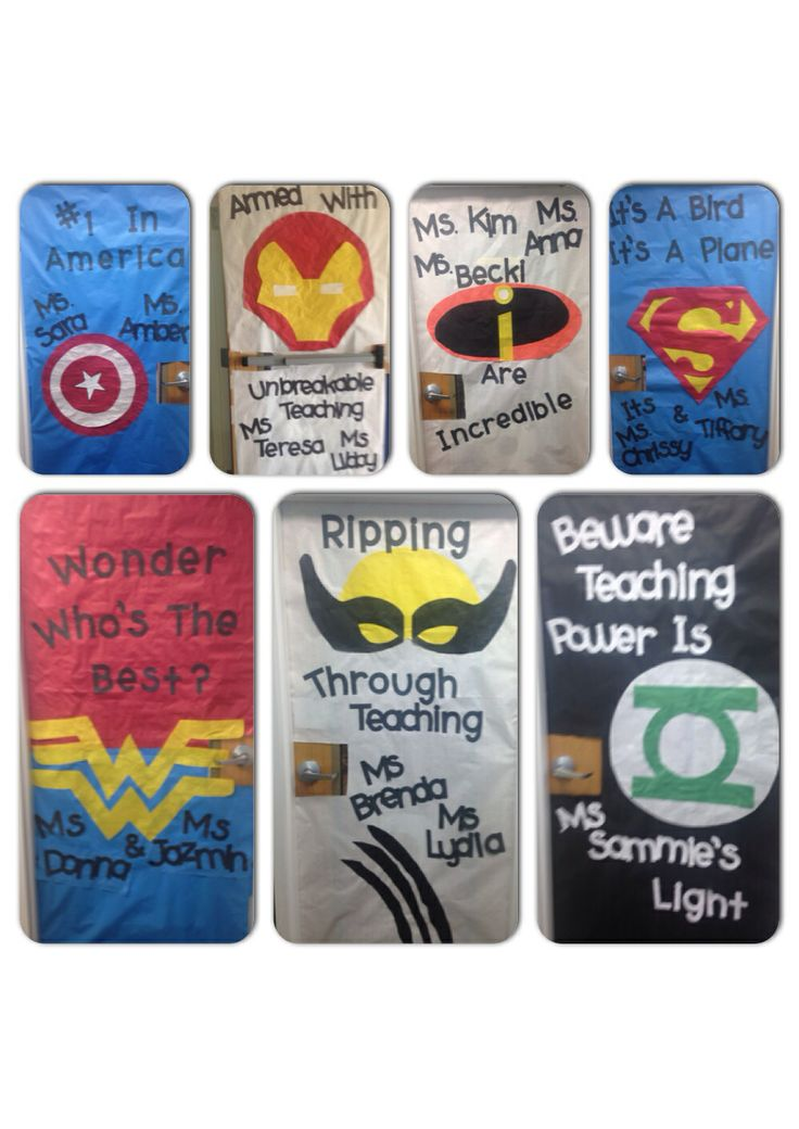 Superhero teacher doors - Captain America, Ironman, Batman, Superman, Wonder Woman, Green Lantern