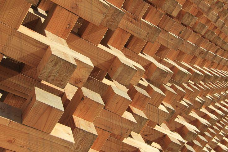 Details we like / Structure / Wood / Compressive strain / Joints / Carved wood / Japan Pavilion / 2015 / at designboom
