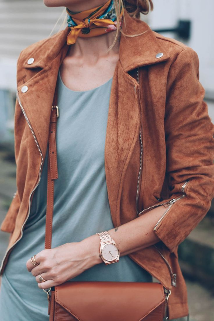 silk neck scarf and rose gold watch / Jess Kirby