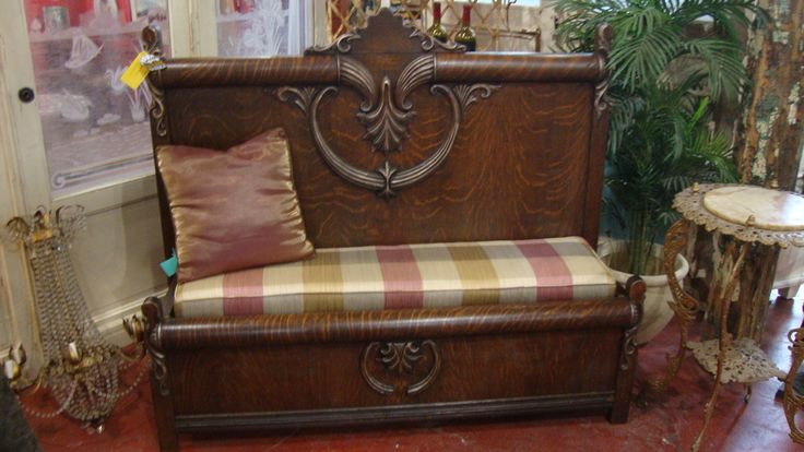 "Custom Bench made from a reclaimed antique headboard and footboard.  As seen on the TV show ""Salvage Dawgs"" featuring Black Dog Salvage in Roanoke, VA! www.blackdogsalvage.com"