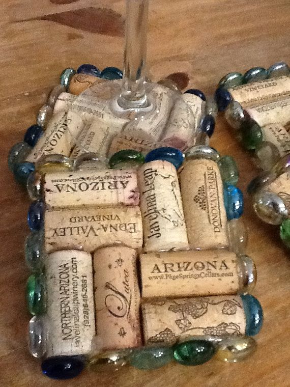 Wine cork coaster with glass jeweled bezel by UniquelyYours2, $19.99