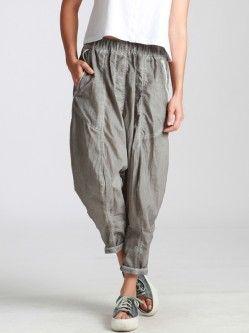 NYLON TROUSERS WITH ELASTIC WAISTBAND AND UNEVEN DYE