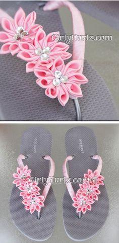 Pink kanzashi flowers on flip flops thongs. what a great way to make my daughter wear those dollar tree flip flops!