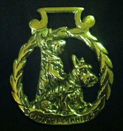 Rare-Vintage-SCOTTISH-TERRIER-Horse-Harness-Brass-SCOTTIE-Lover-WOW-YOUR-WALLS