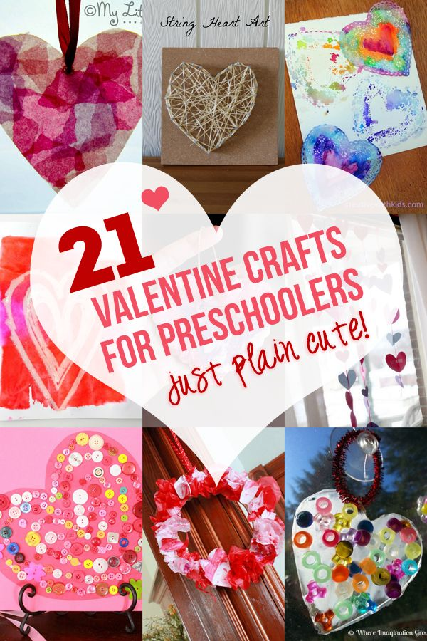 Too stinkin' cute! These 21 Valentine crafts for preschoolers to make are just plain cute and fun to make. All the hearts are bound to give you the fuzzies!