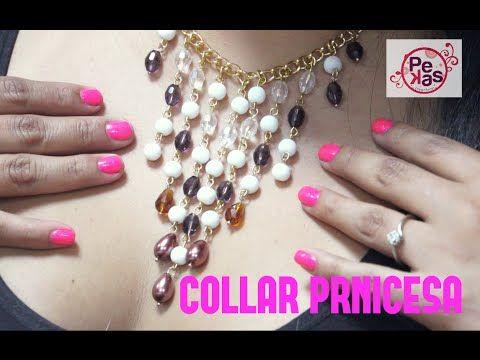 Como hacer Collar Princesa de Perlas y Cristales : Pekas Creaciones - YouTube