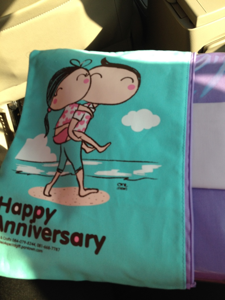 Bed Sheet Set in Cute Couple Gift Bag Happy Wedding or Happy Anniversary By Tal Art & Crafts Made in Thailand  Satinee_t@hotmail.com