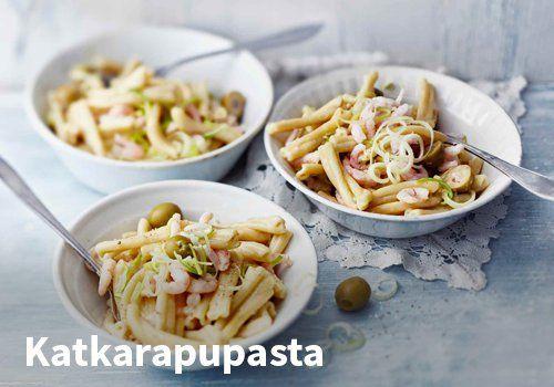 Katkarapupasta, Resepti: Valio #kauppahalli24 #resepti #pasta #katkarapu #valio #ruoka #katkarapupasta