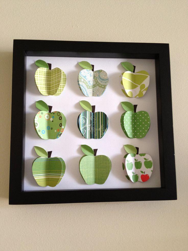 Green Apples, 3D paper art. LOVE for my September decorating