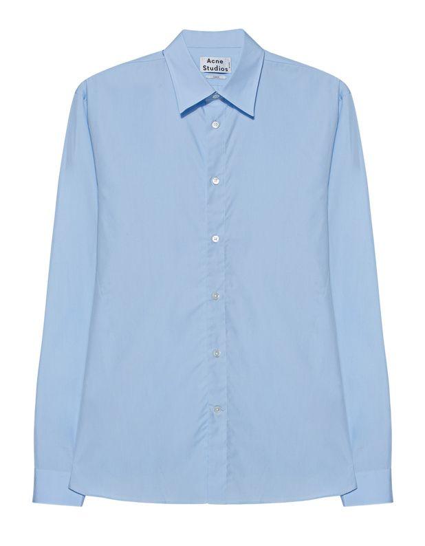 Slim Fit Baumwoll-Hemd Das schmal geschnittene hellblaue Hemd ist aus reiner Baumwolle gefertigt und kommt im cleanen Design mit Abnähern und kleinen nudefarbenen Details and den geschlitzten Seiten.  Cleane Sophistication mit kleinen Extravaganzen...