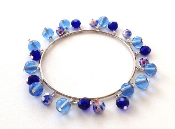 Blue bead bangle bracelet with crystals and glass beads