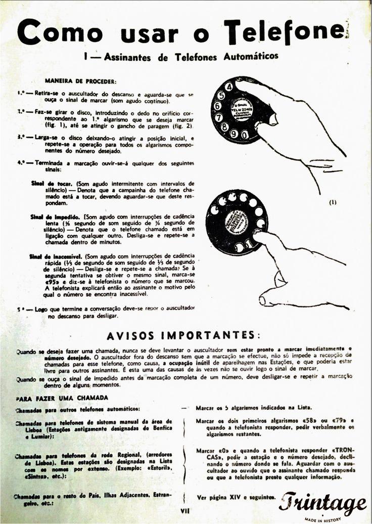 Instruções: Como usar o telefone, Lista Telefónica de 1952