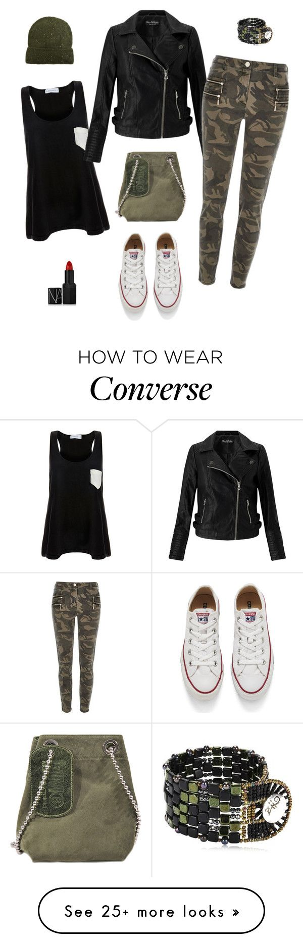 """""""Converse camo"""" by siostranocy on Polyvore featuring Solid & Striped, Miss Selfridge, River Island, Converse, Maison Margiela, MANGO, Ziio and NARS Cosmetics"""