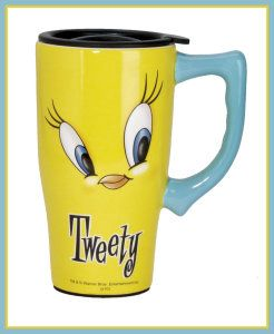 Looney Tunes Tweety Face Travel Mug, Yellow