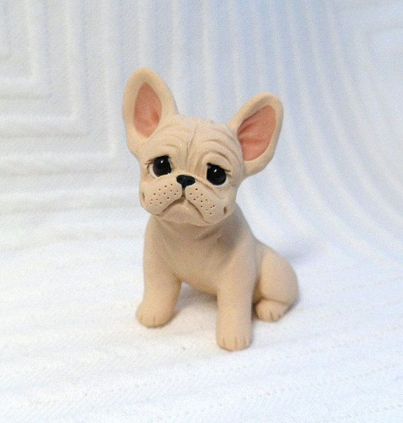 French Bulldog Sculpture Polymer Clay Mini by Raquel at by theWRC