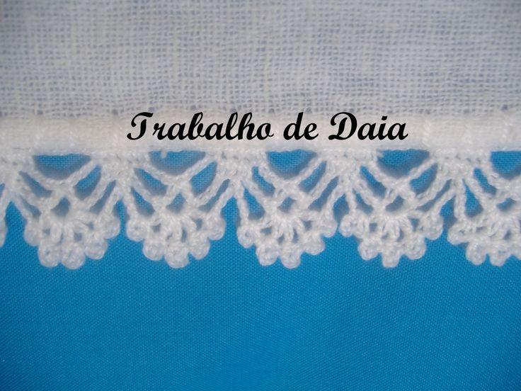 Fotoğraf: Trabalho nº 27 - Pano de prato com bico de crochê.